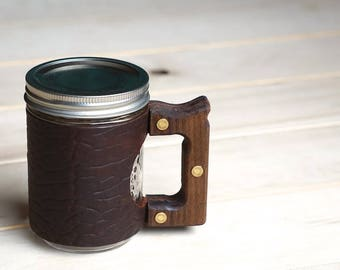 The Woods Mug Sleeve in Ol'Red Folklore Bison Leather & Walnut Wood Handle