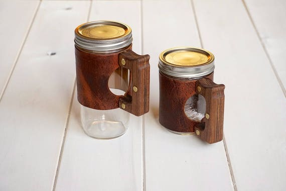 The Woods Mug in Autumn Harvest leather with a Hardwood Walnut Handle