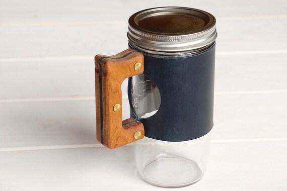 The Woods Mug Sleeve in Blue Hampton Leather & Cherry