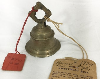 1949 Collector BELLS Of SARNA Vintage India Sweetmeat BELL w/ Tags S.S. Sarna Ny