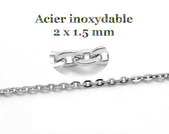 1 metre stainless steel chain 2 x 1.5 mm