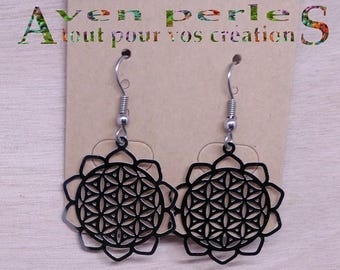 1 pair of flower of life earrings stainless steel