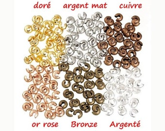 "Lot de 100 Perles à Écraser   /""BRONZE/""  environ Ø 2 mm"