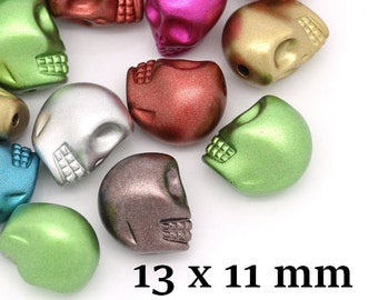 skull beads 22 colored 13 x 11 mm