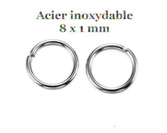 100 stainless steel junction rings 8 x 1 mm
