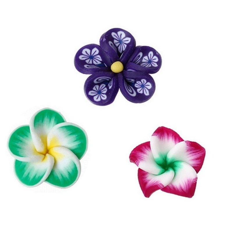 10 flowers in polymer paste to paste 17 x 15 mm