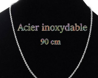 1 stainless steel chain necklace matte 90 cm