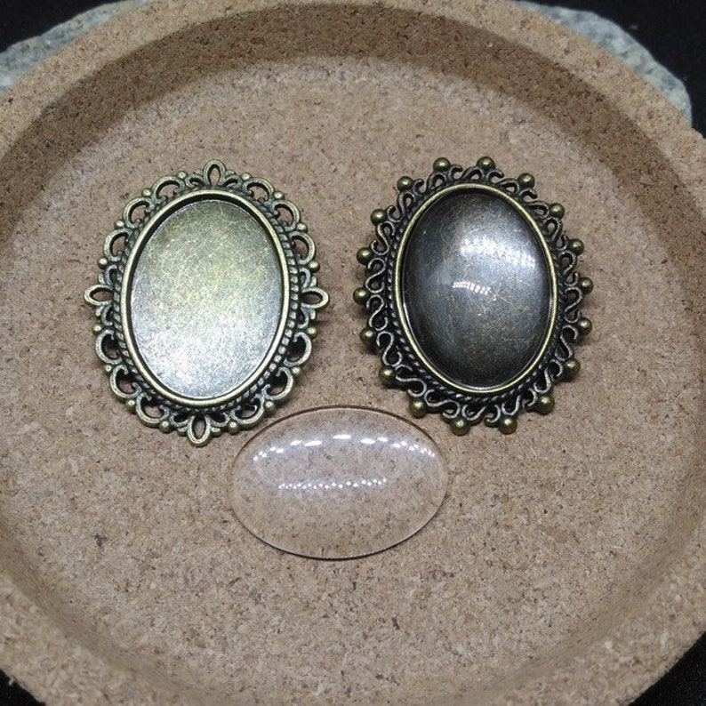 4 support shards and cabochons 25 x 18 bronze