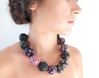Big bead necklace, necklace, jewellery, chunky necklace, bold, necklace, unique, black, big beads, statement, one of a kind, pink, handmade