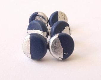 Navy blue studs, earrings, studs, jewelry, polymer clay studs, clay studs, navy and silver, contemporary jewelry, gift for her, earring gift
