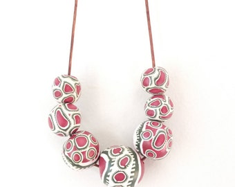 Polymer clay necklace, necklace, jewellery, bib necklace, chunky, boho, one of a kind, statement, handmade, colorful, bright, pink, gift