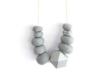 Geometric necklace, polymer clay necklace, jewellery, necklace, geometric, grey, silver, polymer clay, chunky beads, long necklace, beaded