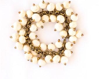 Statement ivory cluster bracelet - elegant beaded bracelet of bone beads set on brass - in Ivory Dreams - one of a kind