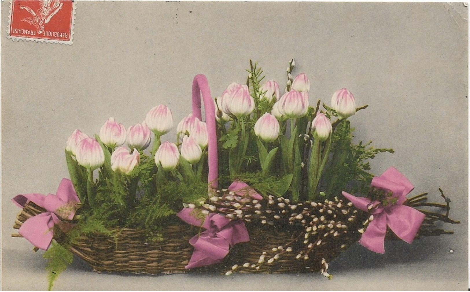 Vintage Postcard Beautiful Basket Of Flowers 1909 Etsy