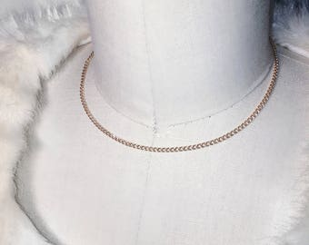 Simple Gold Chain Choker - 14k gold filled chain