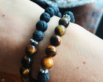 Tigers Eye & Lava Beads Essential Oil Chakra Bracelet