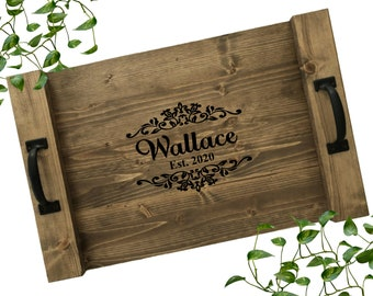 Rustic Personalized Serving Tray | Custom Wood Tray | Rustic Wedding Gift | Anniversary Gift
