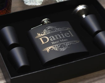 Groomsmen Gift Flask Set Personalized Engraved Box Set Women Best Man Bridesmaid Bachelor Party Proposal Wedding Favors Matte Black