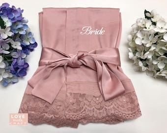 b9c5cfd22a Rose Gold Bride Matching Satin Lace Robes