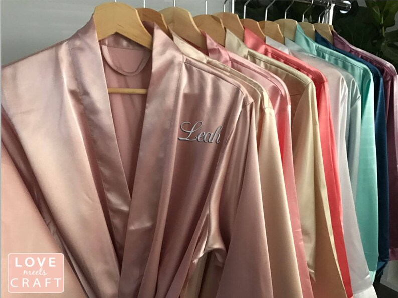 742e732498 Bridesmaid Robes Set 8 Personalized Solid Satin Monogram Silk