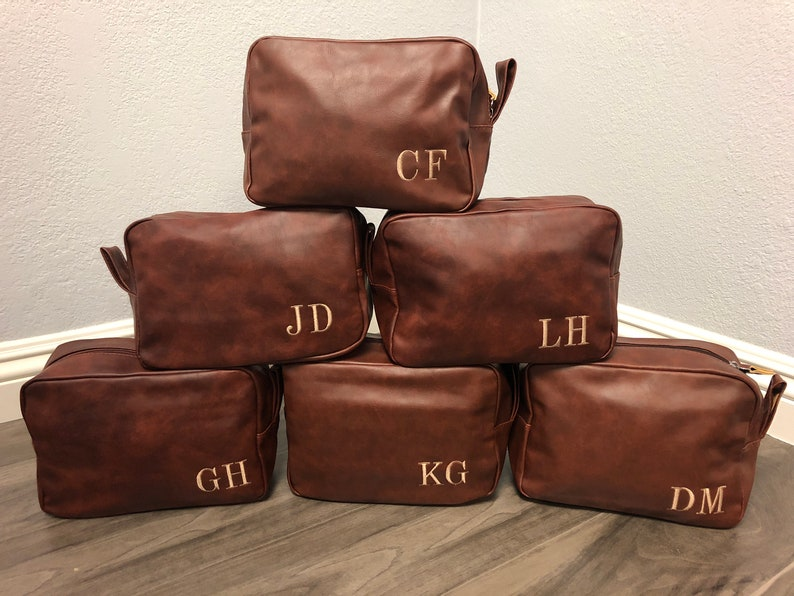 e5a5d0de94f1 Personalized Shaving Kit Groomsmen Toiletry Bag Leather Dopp