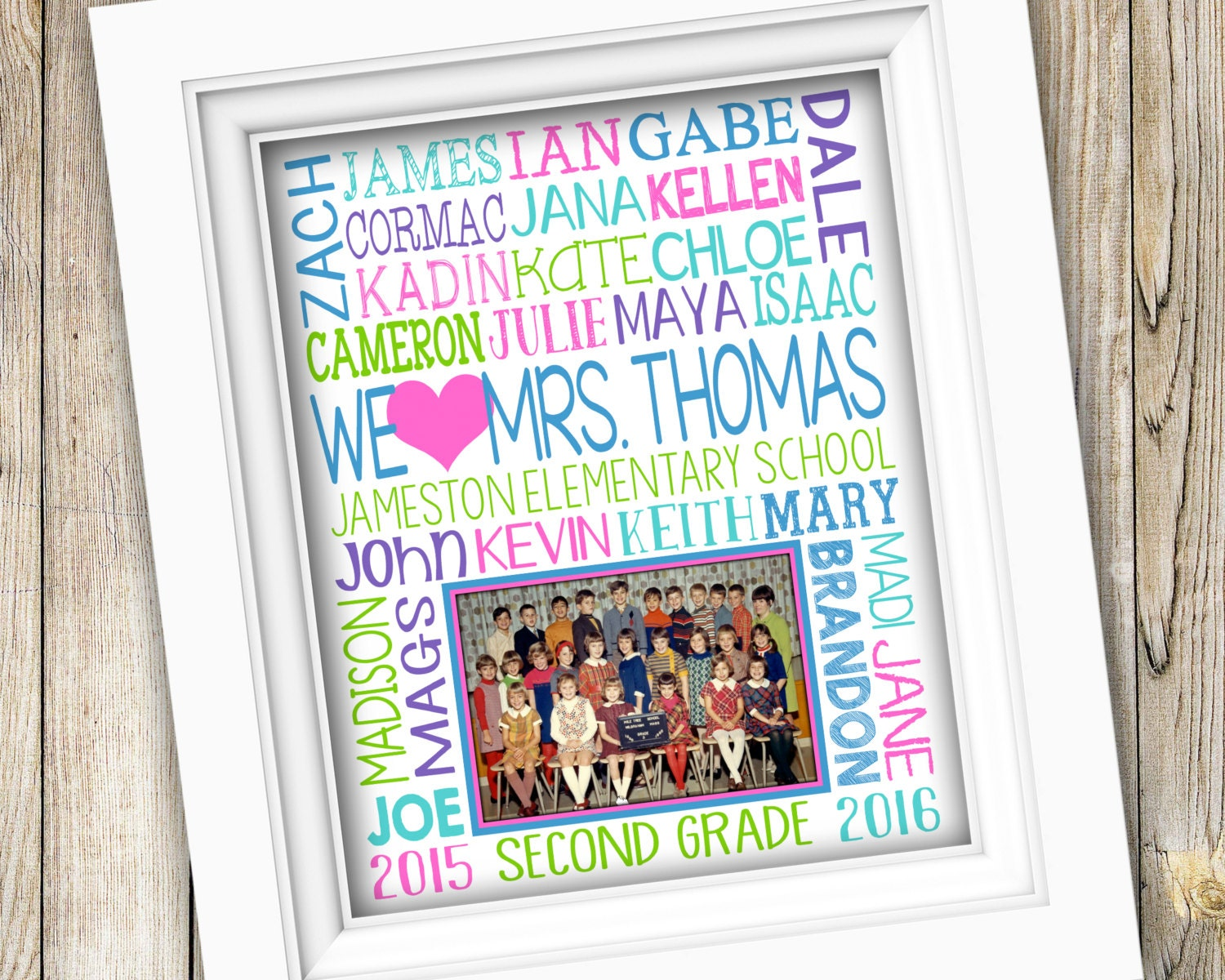 Gift For Teacher Class Photo Appreciation From Student Names End Of Year DIGITAL
