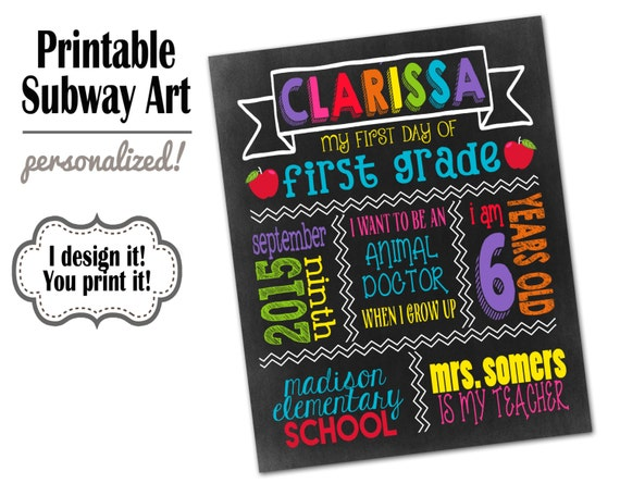First Day Of School Sign Printable Back To School Sign 1st Etsy