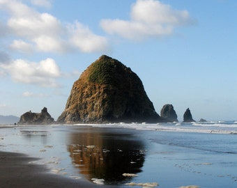 """Haystack Rock Landscape and Reflection in Oregon - """"Cannon Beach"""""""