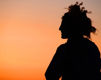 """Ombre Sunset Silhouette Fine Art Print - """"Happiness"""""""