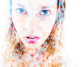 "Portrait Photography - Photomanipulation Design - Girly Home Decor - Pastel Wall Print - ""Flower Girl"""