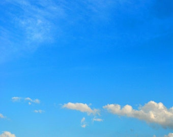 """Nature Photography - Sky and Clouds - Sunny Day - Travel Photography - Blue Wall Decor - """"Blue Skies Ahead"""""""