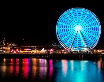 "Seattle Ferris Wheel Night Photography - ""Pier 57"""