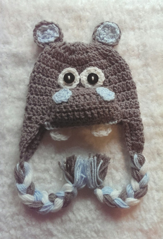 Crochet Hippo Hat Boy Hippo Hat Girl Hippo Hat 6 Colors To Etsy