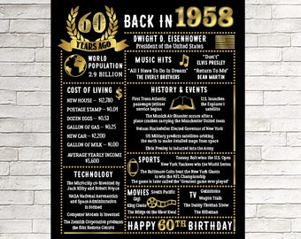 60th Birthday Gift 60 Years Ago In 1958 Sign For Him Printable Chalkboard