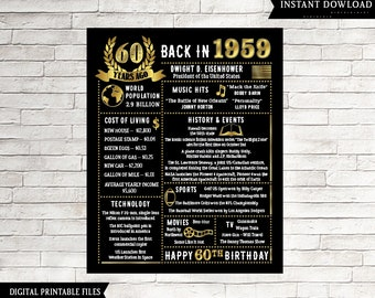 60th Birthday Gift For Men 60 Years Ago In 1959 Sign Printable Chalkboard