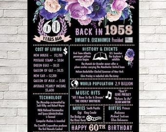 60th Birthday, 60th Birthday Gifts for Women, 60th Birthday Gift, 60th Birthday Gift For Mom, 1958 Birthday Poster, 1958 Birthday, 60th Her
