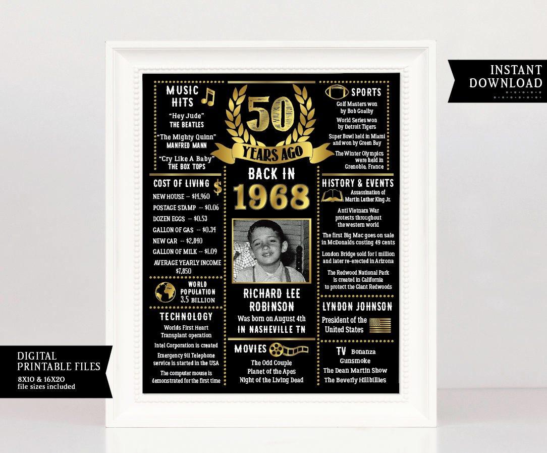 50. Geburtstagsgeschenk 50. Geburtstag Plakat 50. Jubiläum   Etsy