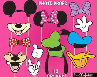 MINNIE MOUSE Photo Booth Props, Minnie Mouse birthday, Minnie Mouse party, Minnie Mouse DIGITAL photo props, Minnie Mouse Clubhouse, Mickey
