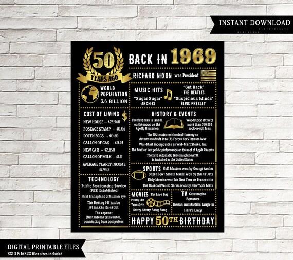 50th Birthday Chalkboard Born In 1969 Gift