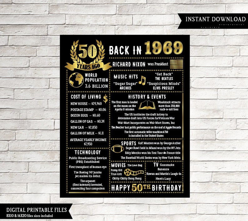3c6f4b8dd52d 50th Birthday Chalkboard Born in 1969 50th Birthday Gift