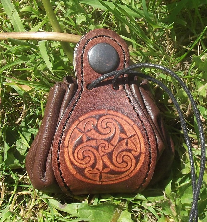 2 sizes available 16 colour to choose Leather pouch celtic design triskell number 6,colour Chocolate