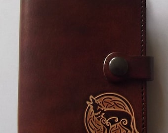 Leather wallet , celtic wolf design ,  (16 colours available)
