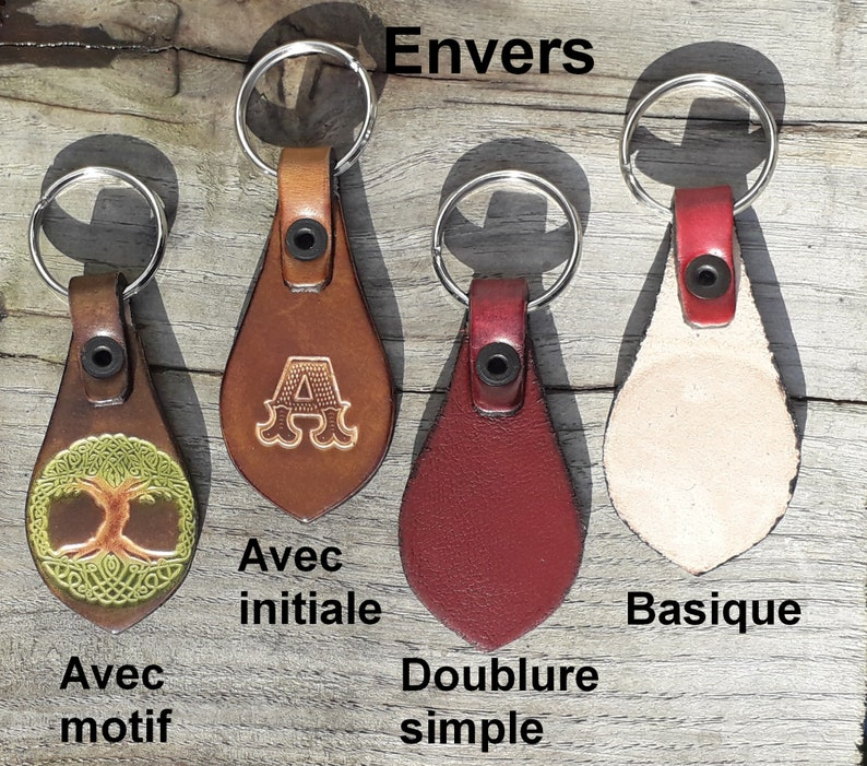 Moon-wolf Design Leather key ring 16 colours available colour  caramel