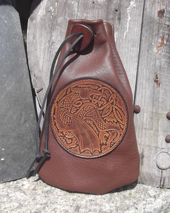 b69c665bff6b Bourse médiévale en cuir à porter à la ceinture empiècement   Etsy