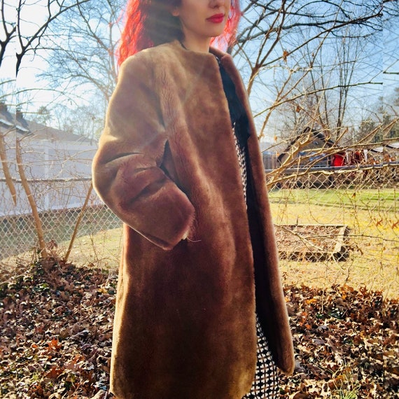 Vintage Teddy Bear Dyed Lamb Coat Jacket Winter
