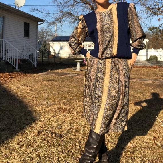 Vintage Snakeskin Skirt Set Sweater Pockets