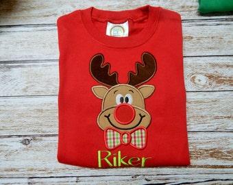 Boy's REINDEER Shirt; Boy's Christmas Shirt; Boy's red shirt; SHIPS 3-5 days