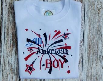 Boy's summer shirt;  Boy's July 4th Shirt; Red White Blue shirt; Patriotic shirt;