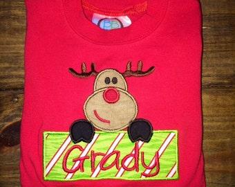 Boys Red Christmas shirt; Boys red shirt; Boys Christmas shirt; Reindeer shirt; SHIPS 3-5 days