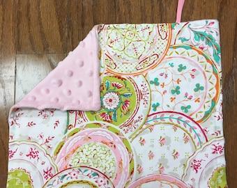 Light Pink & Green Pacifier Blanket